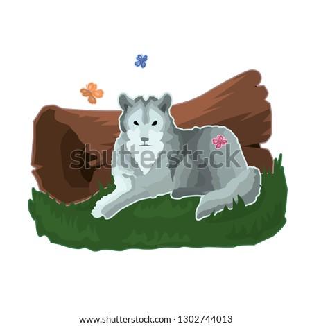 sticker of gray calm wolf who