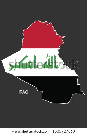 Sticker outline map of the Iraq, flag Iraq.