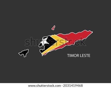 Sticker outline map of the Timor Leste, Timor Leste flag. Stock fotó ©
