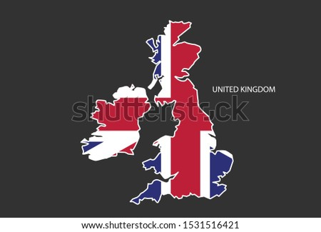 Sticker outline map of the UK, flag UK.