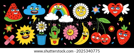 Sticker pack of funny cartoon characters. Vector illustration of comic heart, sun, fruits, berry, rainbow, clouds, flower, abstract faces etc. Big set of comic elements in trendy retro cartoon style.