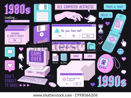 Sticker pack of retro pc elements. Old computer aestethic. Set of user interface elements and technology illustration in trendy retrowave style. Nostalgia for 1980s -1990s.