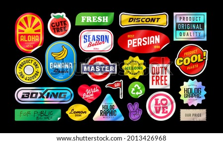 Sticker pack. Price stickers. Peeled Paper Stickers. Price Tag. Isolated on black background