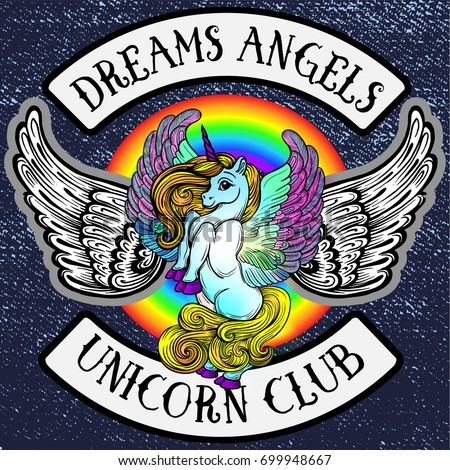 Sticker pony unicorn with wings.Emblem of the children's bike club. Creative idea of design of children's products, Emblem badge, print, tattoo.Fairy-tale horse fulfilling dreams