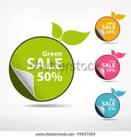 Sticker price tag. The form of colorful fruit. vector illustration