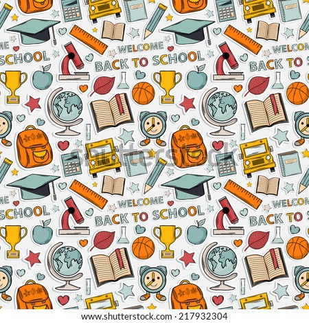 Sticker school pattern. Themed design with different elements:hat graduate,scroll, apple,books,flasks, basketball,alarm clock, briefcase, backpack, school bus,globe,ruler,microscope