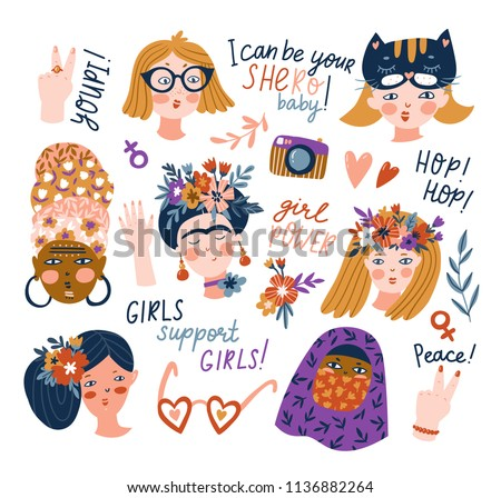 Sticker set of women of different nationalities and religions. Cute and funny girls characters. Feminism concept design. Vector illustration for International women day.
