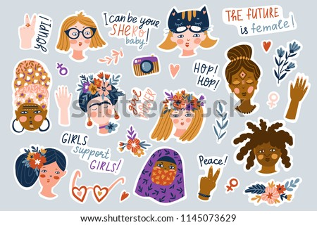 Sticker set of women of different nationalities and religions. Cute and funny girls characters with funny phrases. Feminism concept design. Vector illustration for International women day.