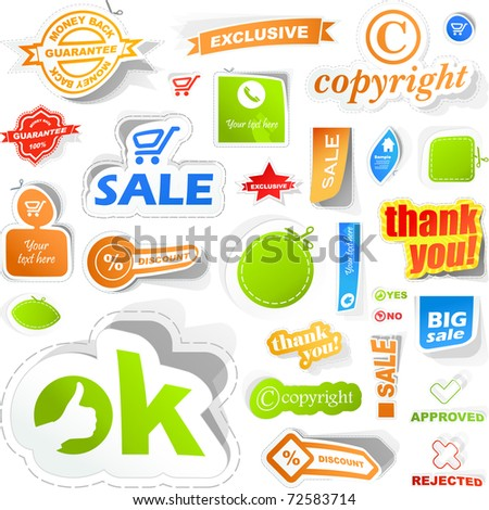 Sticker set. Vector great collection for design. Big collection of sale elements - coupon, icon, tag, banner