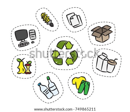 Sticker set with recycle sign vector illustration. Clothes, energy-saving lamp, package box, cardboard package elements with recycle label hand drawn concept. Goods for recycling graphic design.