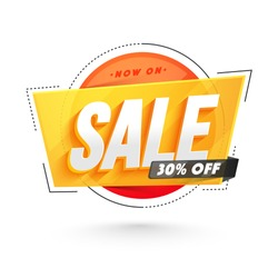 Sticker, tag or label design with 3D text Sale.
