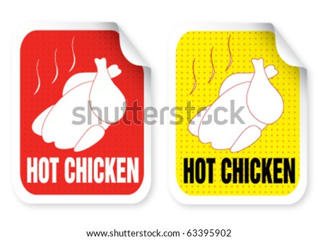Sticker with a roast chicken illustration