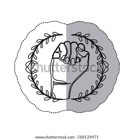 sticker with contour ornament leaves with closed hand symbol support breast c ncer Foto stock ©