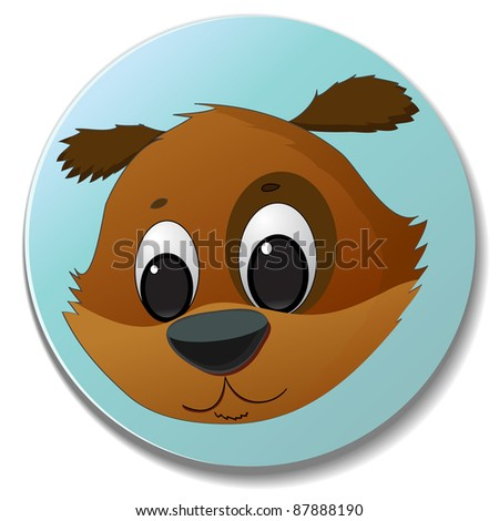 sticker with cute dog head