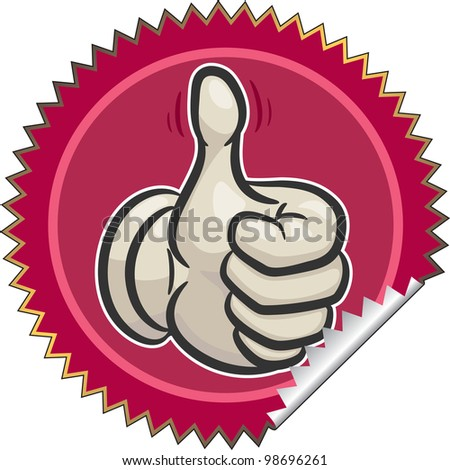 sticker with image  a raised thumb up. vector. eps8