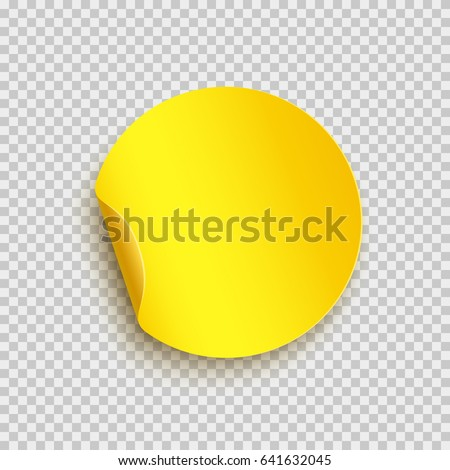 Sticker with peel off corner isolated on transparent background. Vector yellow blank paper banner or circle folded label.  #641632045