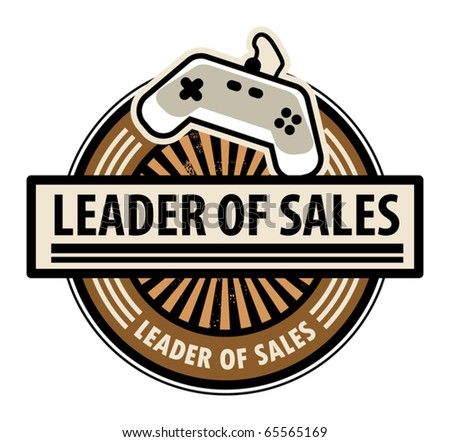 Sticker with the gaming console and word Leader of sales written inside, vector illustration