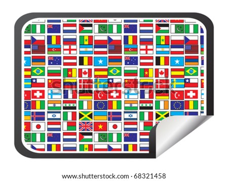 sticker with world flags