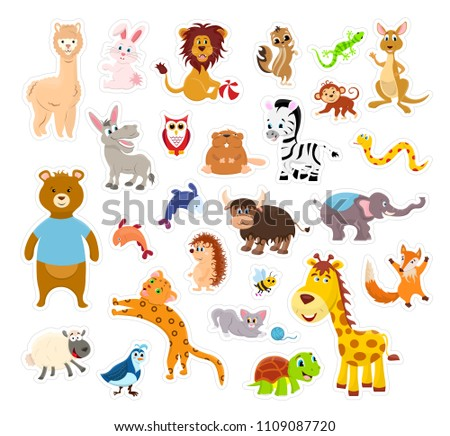 Sticker zoo animals isolated on the white background with cutting line. Vector illustration page. #1109087720