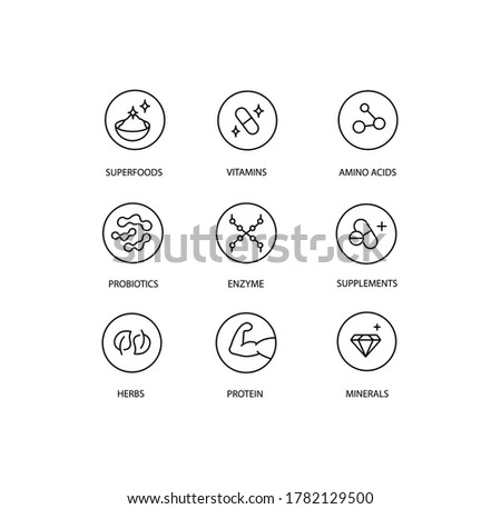 Stickers and badge for healthy products, organic and bio products. Superfoods, vitamins, amino acid, probiotics, enzyme, supplements, herbs, protein, minerals. Stock photo ©