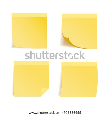 Stickers and memo sticky notes or yellow note pads with corner fold or peel. 3D isolated realistic icons of square adhesive paper sheets with blank space template for messages. Vector illustration