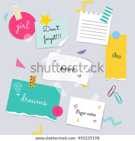 Stickers and note papers collection. Different scraps of paper stuck by sticky tape. Vector illustration.