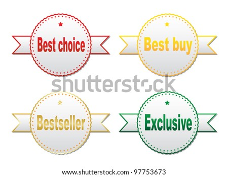 Stickers - best choice, best buy, bestseller, exclusive. Vector