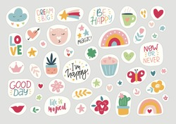 Stickers flat vector illustration. Trendy hand drawn rainbow collection, inspirational quotes, plants, leaves, cat. Cute set symbols of weekly or daily planner, to do list, diaries, organizer.