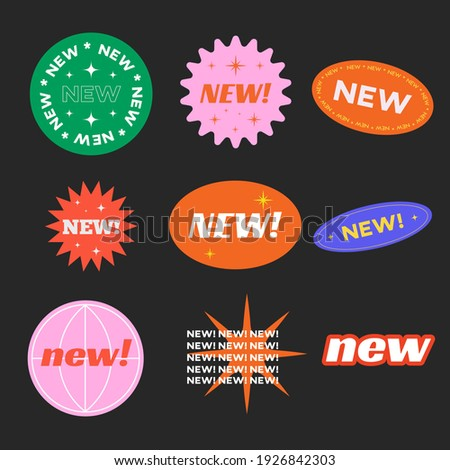 Stickers for New Arrival shop product tags, new labels or sale badges and banners vector sticker icons templates retro design.