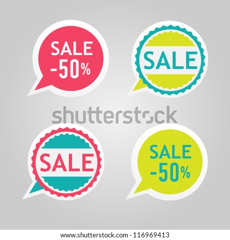 Stickers for sale messages - stock vector