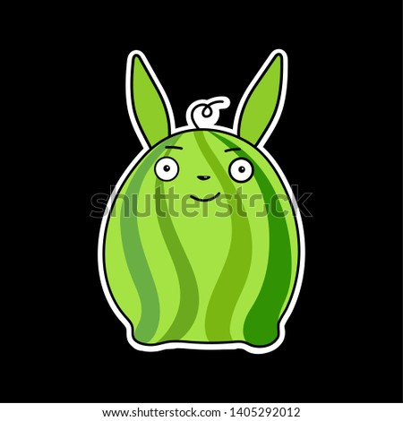 Stickers for your computer. Stickers exclusive. Funny animals. Funny banana and funny watermelon hare