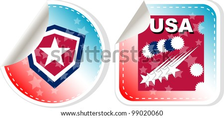 Stickers label set Made in USA. Vector illustration