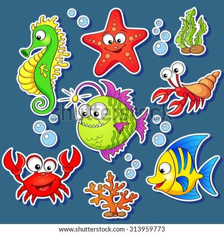 stickers of cute cartoon sea