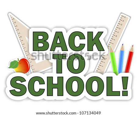 Stickers of School icons. Back to school. 10 EPS. Vector illustration. - stock vector