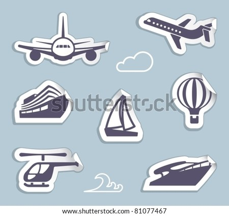 Stickers of sea and air transport