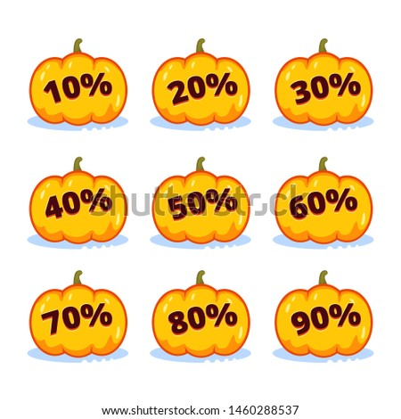 Stickers on the price tag. Pumpkin for Halloween with written discount percentages for coupons,covers, social networks, posters, showcase decorations, retailers, markets. Stimulation of purchase, sale