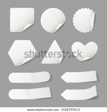 Stickers. Paper blank labels with realistic shadows and curled corners vector template. Illustration of sticker and label for notes and message