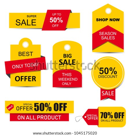 Stickers, price tag, banner, label. Coupon sale, offers and promotions template.