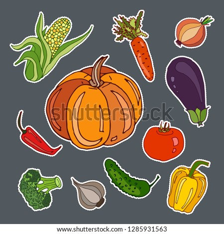 Stickers set with cute hand drawn vegetables. Vector doodle collection #1285931563