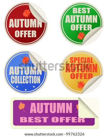 Stickers set with text best autumn offers, vector illustration