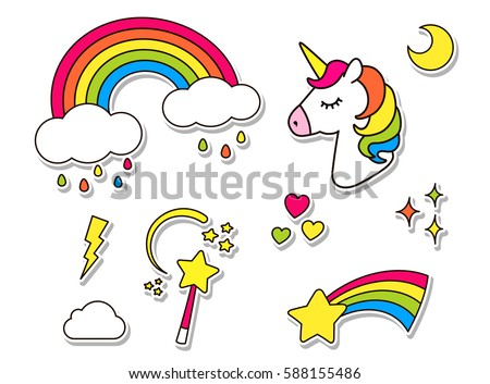 Stickers set with unicorn, rainbow, star, cloud, magic wand  for girls. Cool decoration elements isolated on white. Vector comic cartoon 80s 90s style. Cute set of fashion patch badges, pins, textile