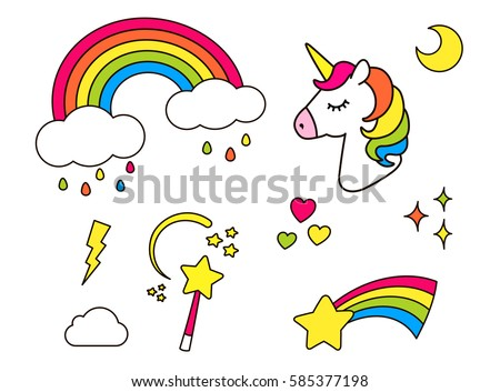 Stock Photo Stickers set with unicorn, rainbow, star, cloud, magic wand  for girls. Cool decoration  interior elements isolated on white. Vector comic cartoon 80s-90s style. Cute fashion patch badges, pins