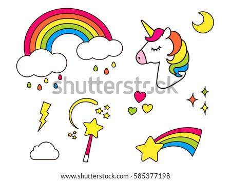 stickers set with unicorn