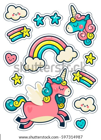 Stickers Set with Unicorns, Rainbow and Stars