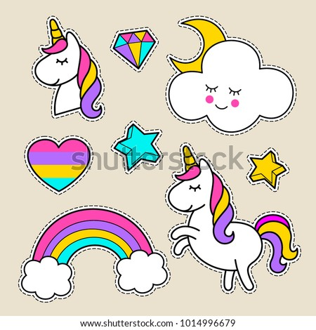 stickers with a unicorn  stars