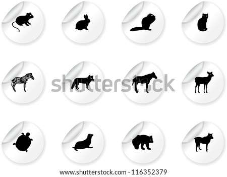 Stickers with animal icons