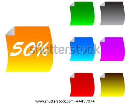 stickers with fifty percent - stock vector
