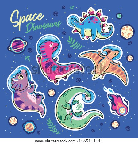 Stickers with funny cartoon dinosaur astronauts collection. Vector illustration