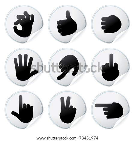 Stickers with Human Hand Signs vector isolated design elements