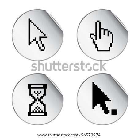 stickers with pixel cursor icon